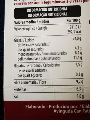 Hummus con pimiento del piquillo asado - Informació nutricional
