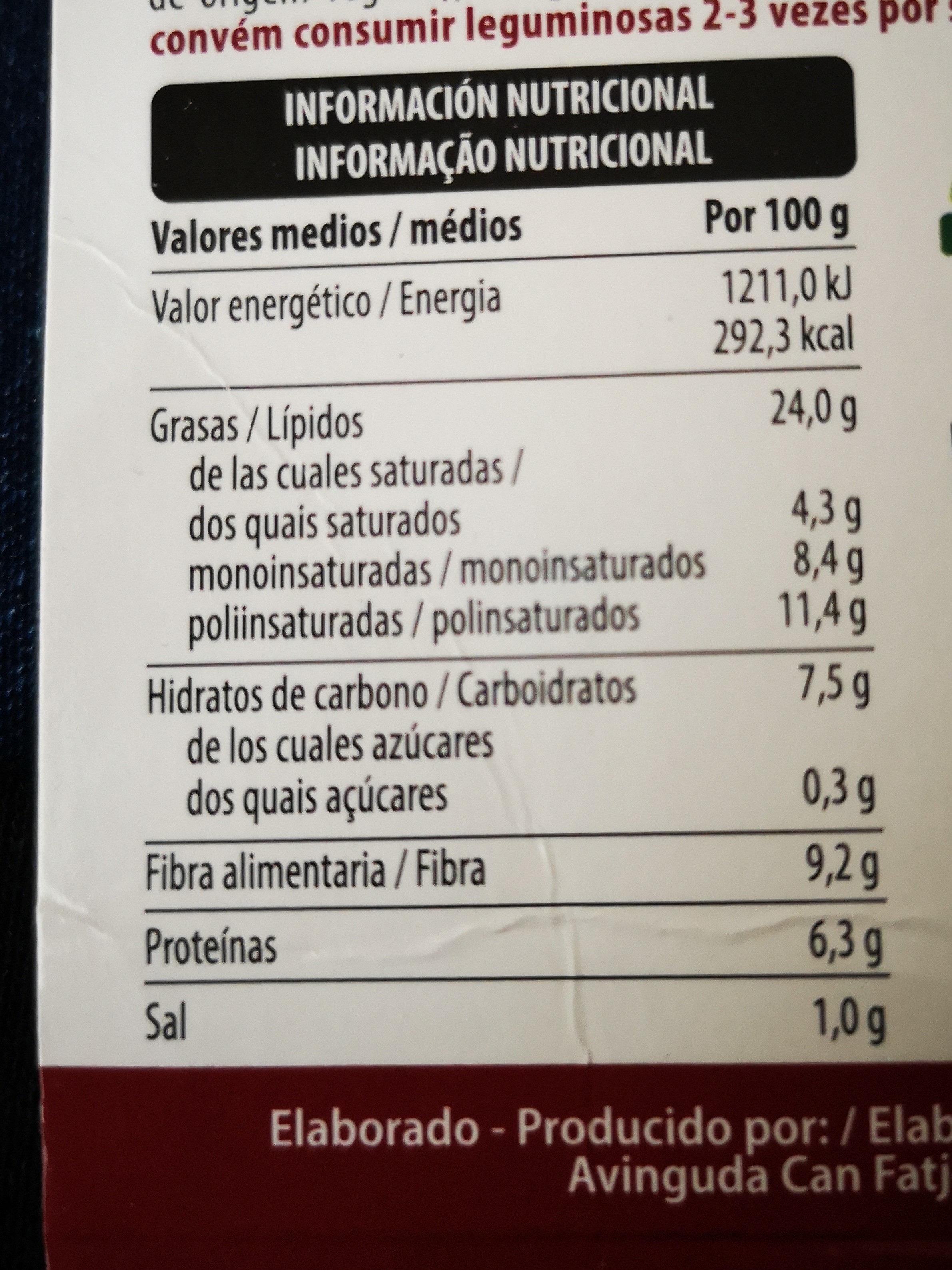 Houmous - Informació nutricional