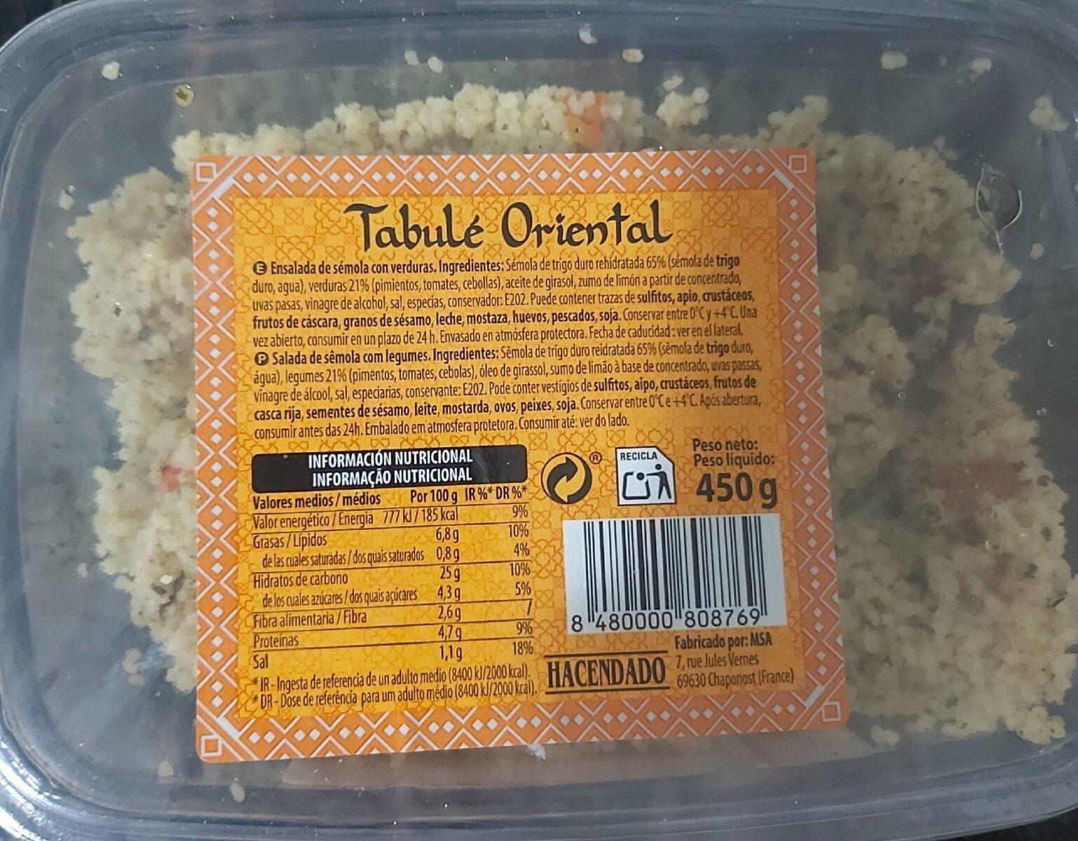 Tabulé Oriental - Produit - es