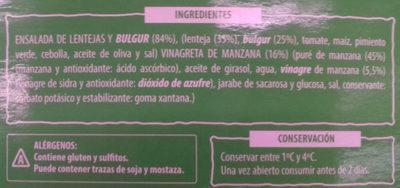 Ensalada de lentejas y bulgur - Ingredientes