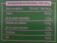 Ensalada de lentejas y bulgur - Información nutricional