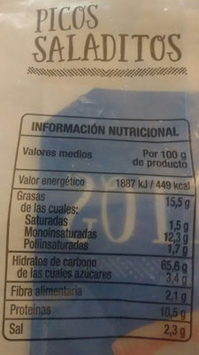 PICOS SALADITOS - Información nutricional