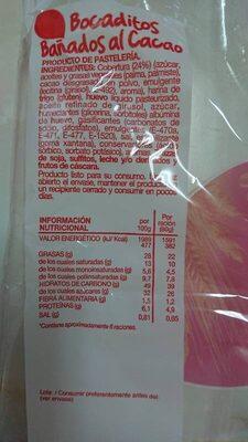 Bocaditos Bañados al Cacao - Información nutricional