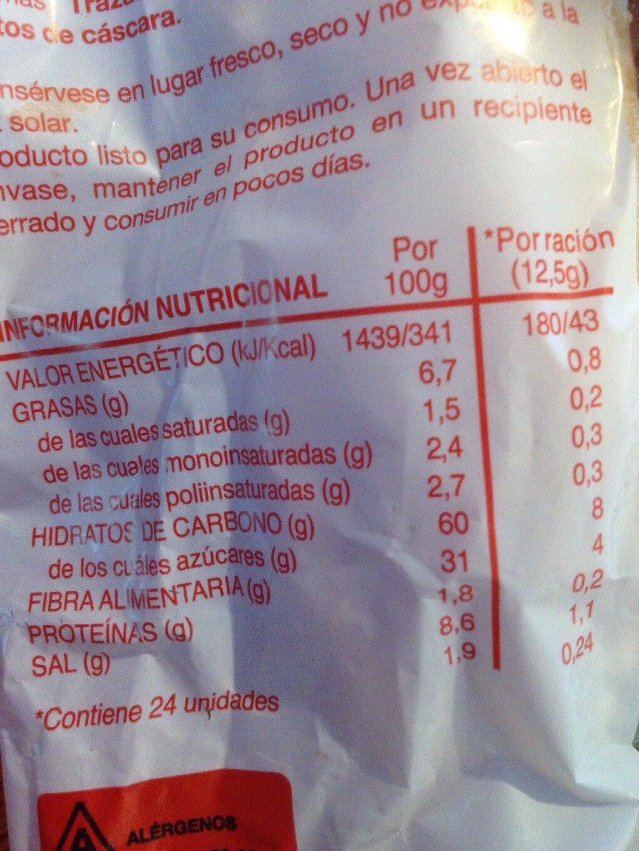 Bizcochos - Información nutricional