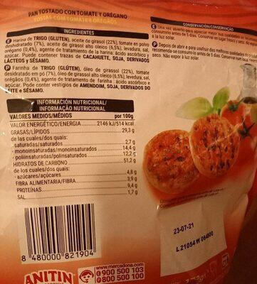Tomate - Informations nutritionnelles - es
