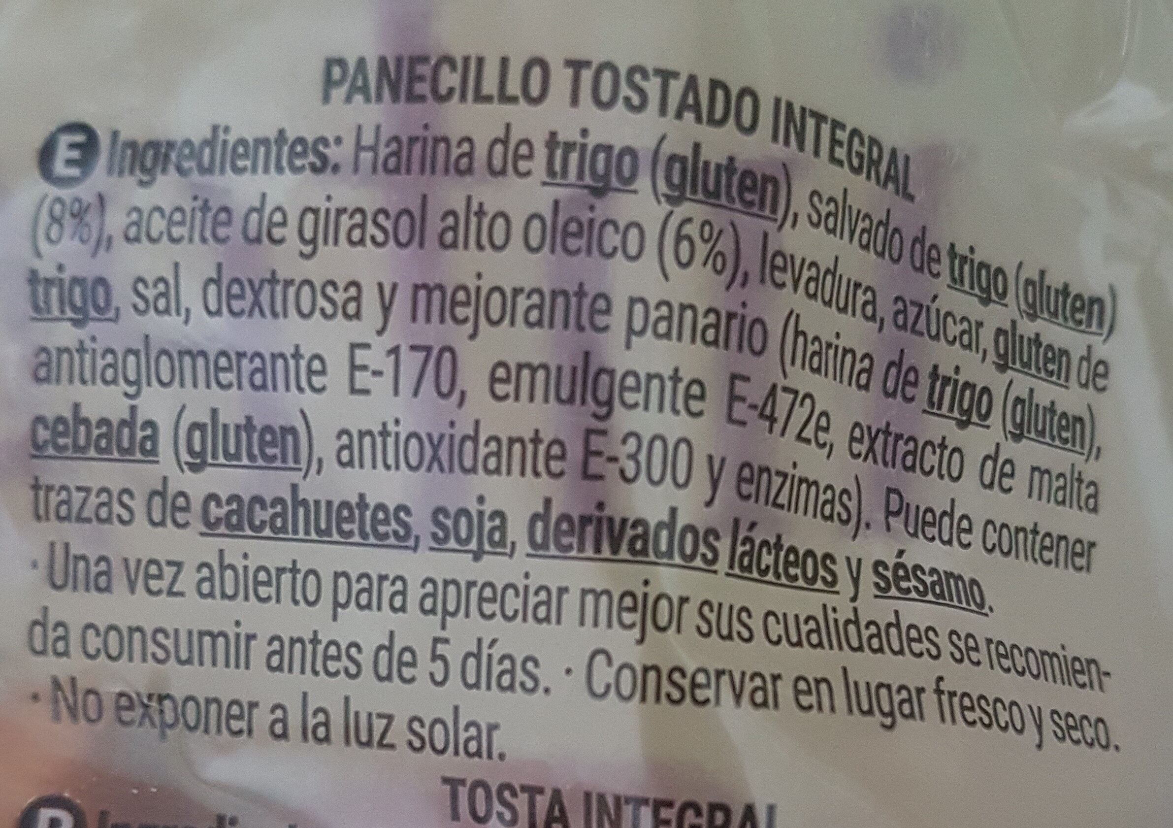 Panecillos tostados integrales - Ingredients - es