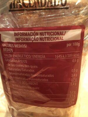 Pan tostado clásico - Informations nutritionnelles