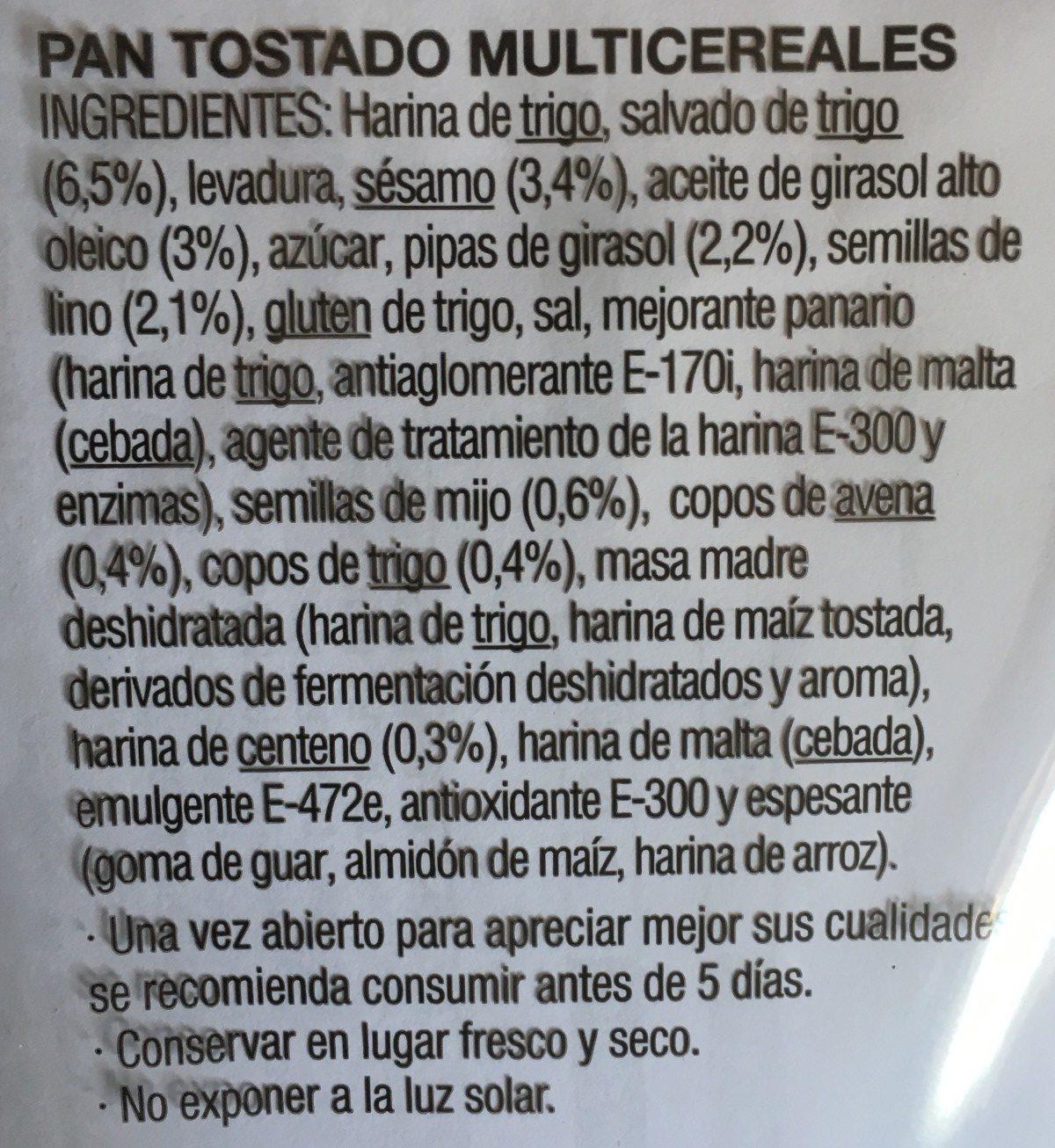 Pan tostado multicereales - Ingredients