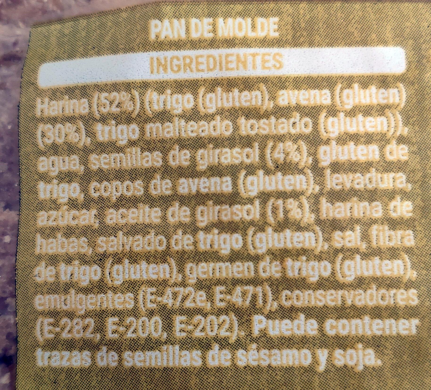 Pan 30% avena - Ingrédients - es