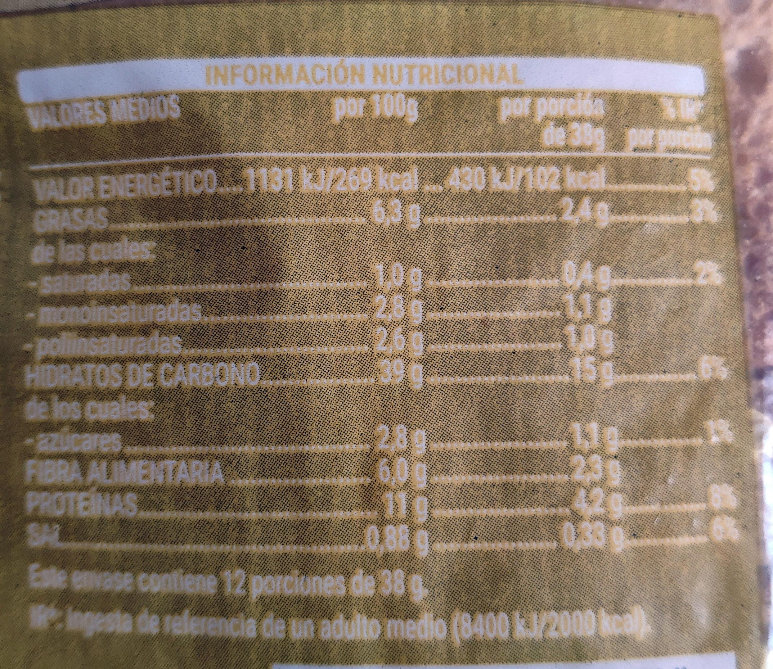 Pan 30% avena - Informations nutritionnelles - es