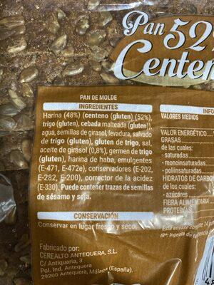 Pan 52% centeno - Ingredients - es