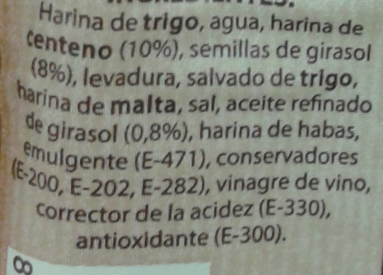 Pan 52% Centeno - Ingredients