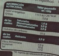 Pan 52% centeno - Información nutricional - es