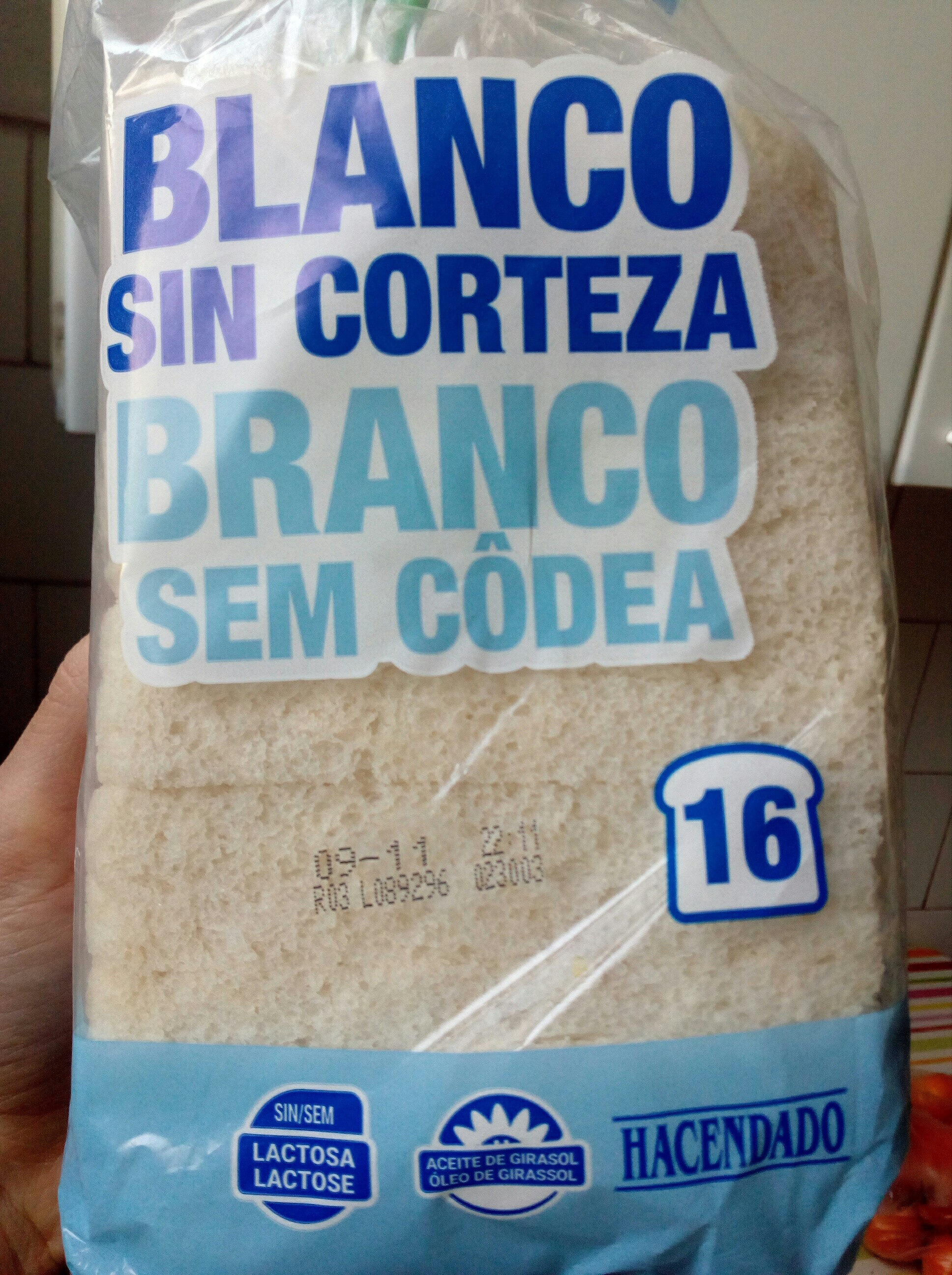 Pan de molde blanco sin corteza - Producte - es