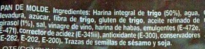Pan de Molde Integral - Ingredients