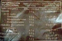 Pan de molde integral - Informations nutritionnelles - es