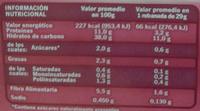 Pan de molde integral sin azúcares añadidos - Información nutricional - es