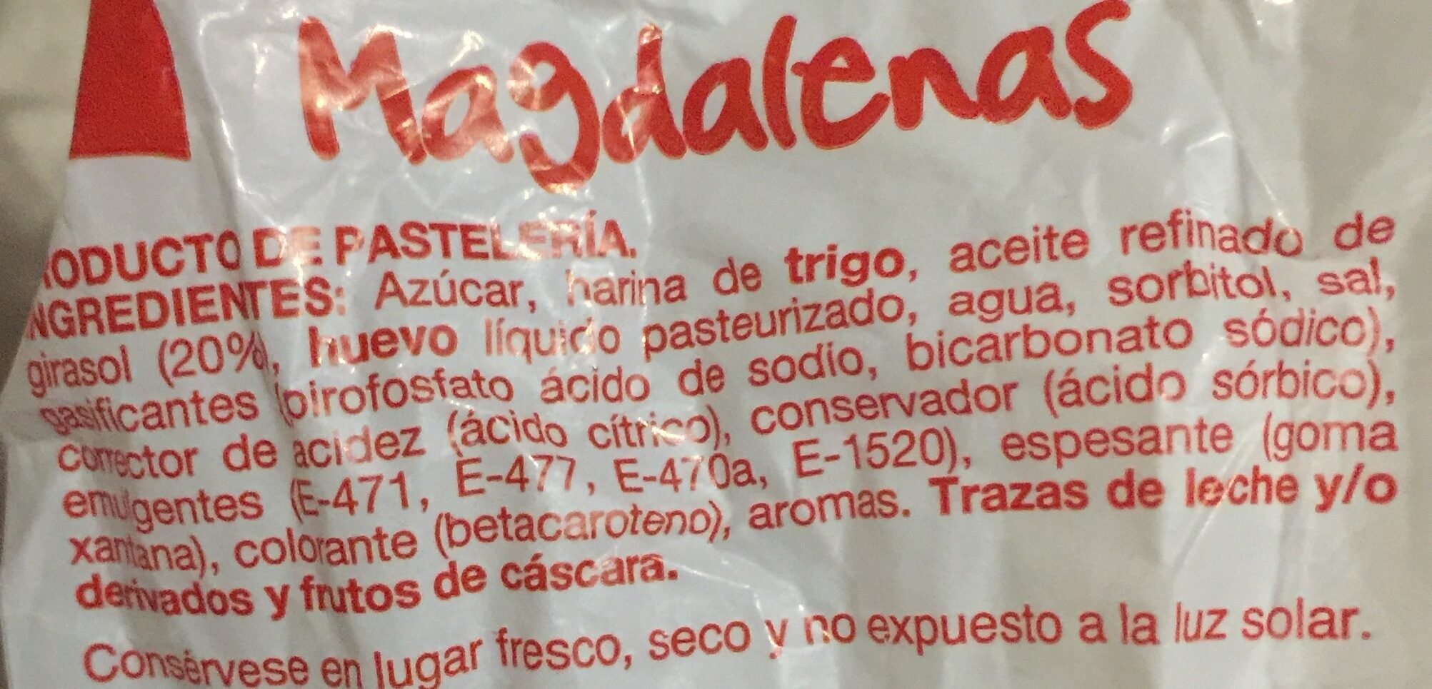 Magdalenas cuadradas - Ingredientes