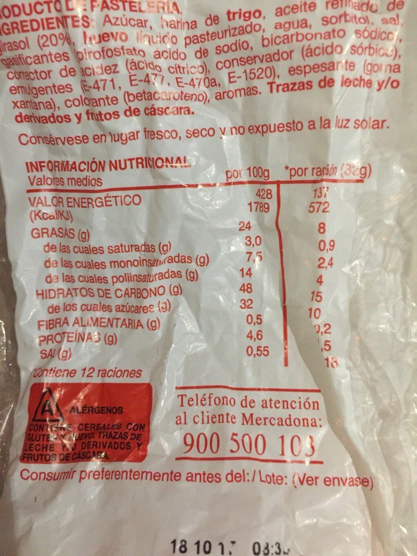 Magdalenas cuadradas - Información nutricional