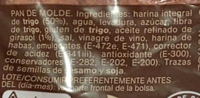 Pan de molde integral familiar - Ingredients