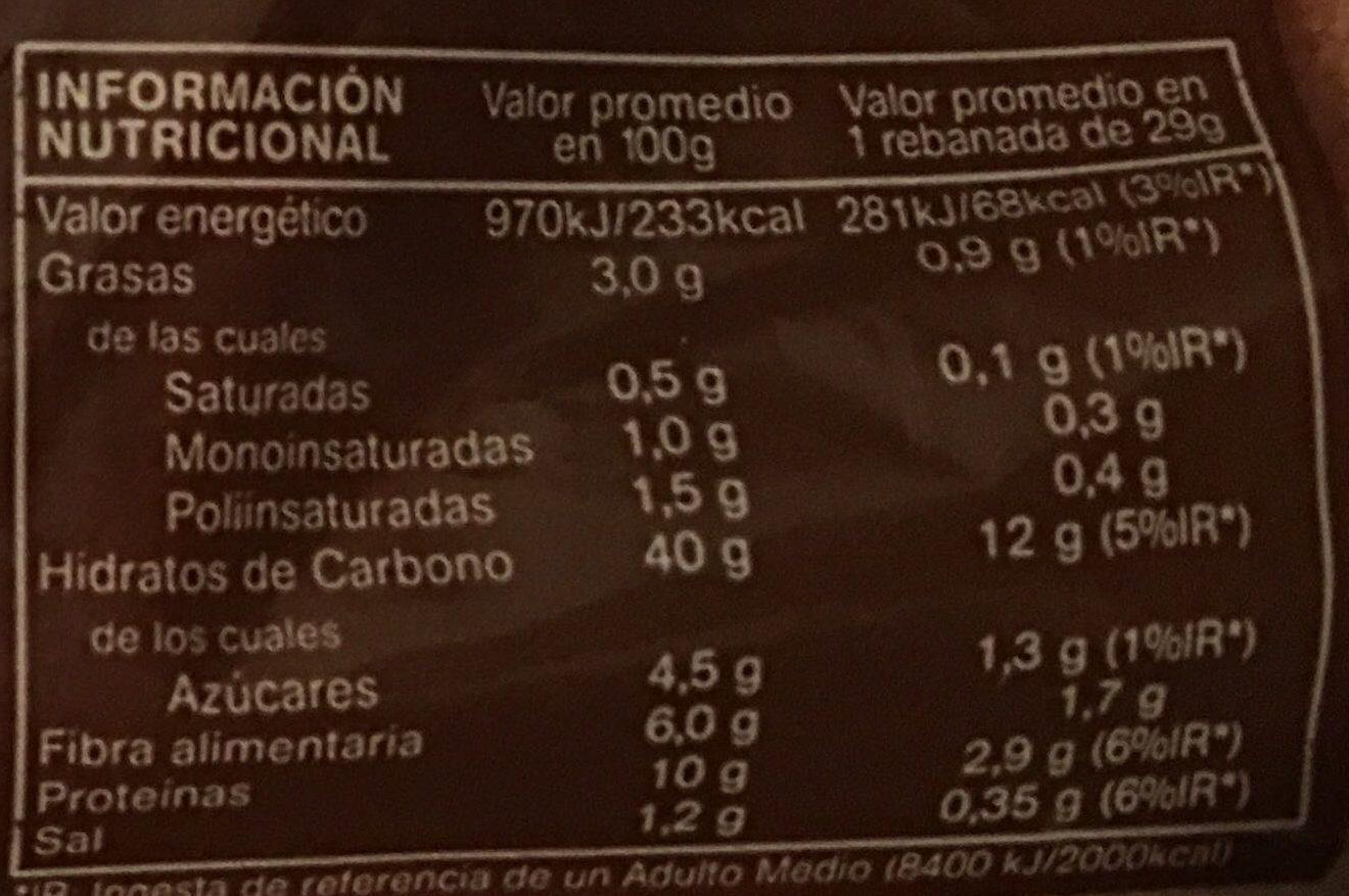 100% Integral Familiar - Información nutricional