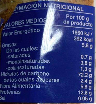 Pan tostado integral bajo en sal y azúcares - Información nutricional