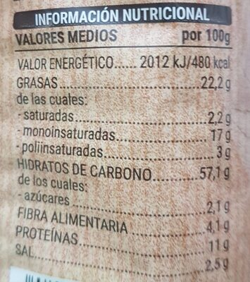 Palitos con frutos secos horneados - Nutrition facts - es