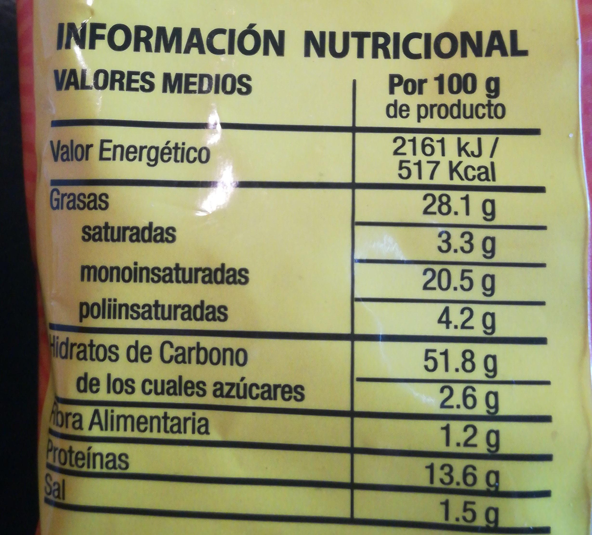 Anitines con pipas de calabaza - Información nutricional - es
