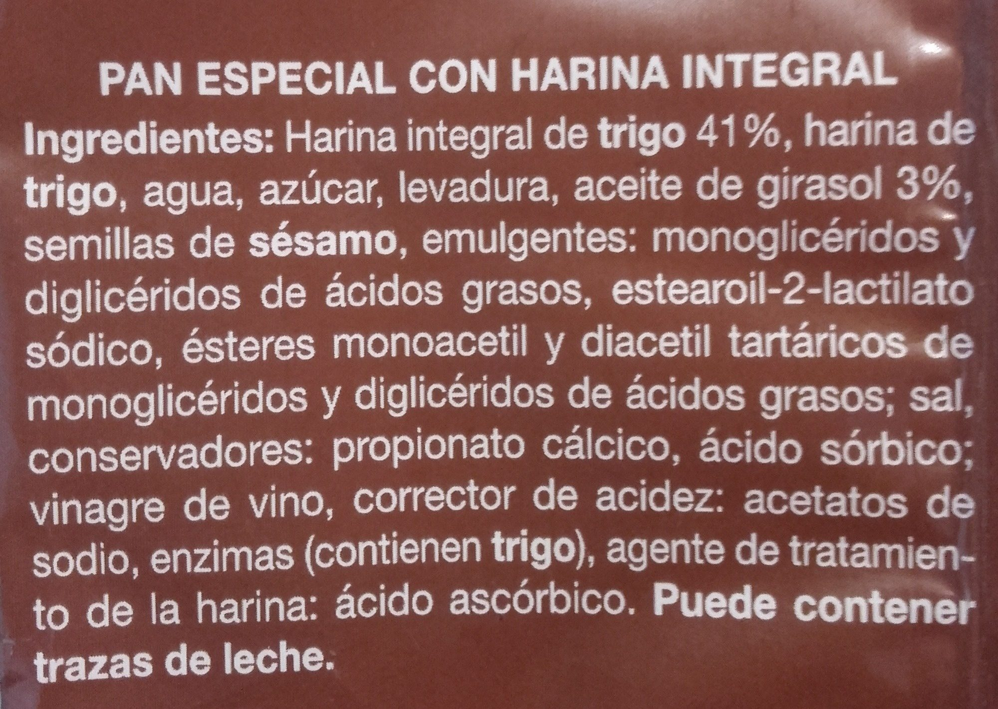 Pan de hamburguesa integral - Ingredientes - es