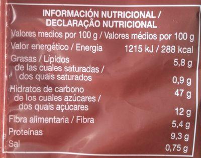 Pan de hamburguesa integral - Información nutricional - es