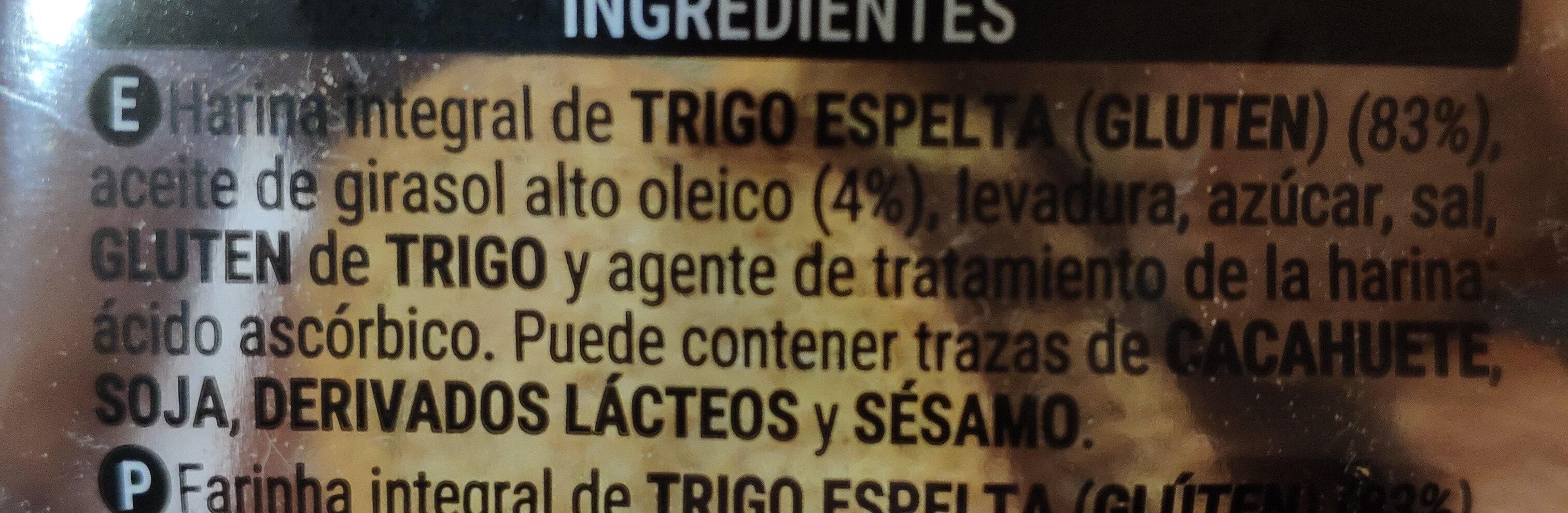 Pan de espelta integral 100% - Ingredientes - es
