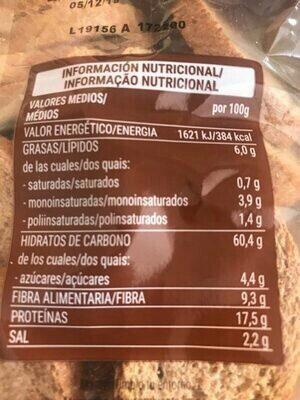 Pan de espelta integral 100% - Información nutricional - es