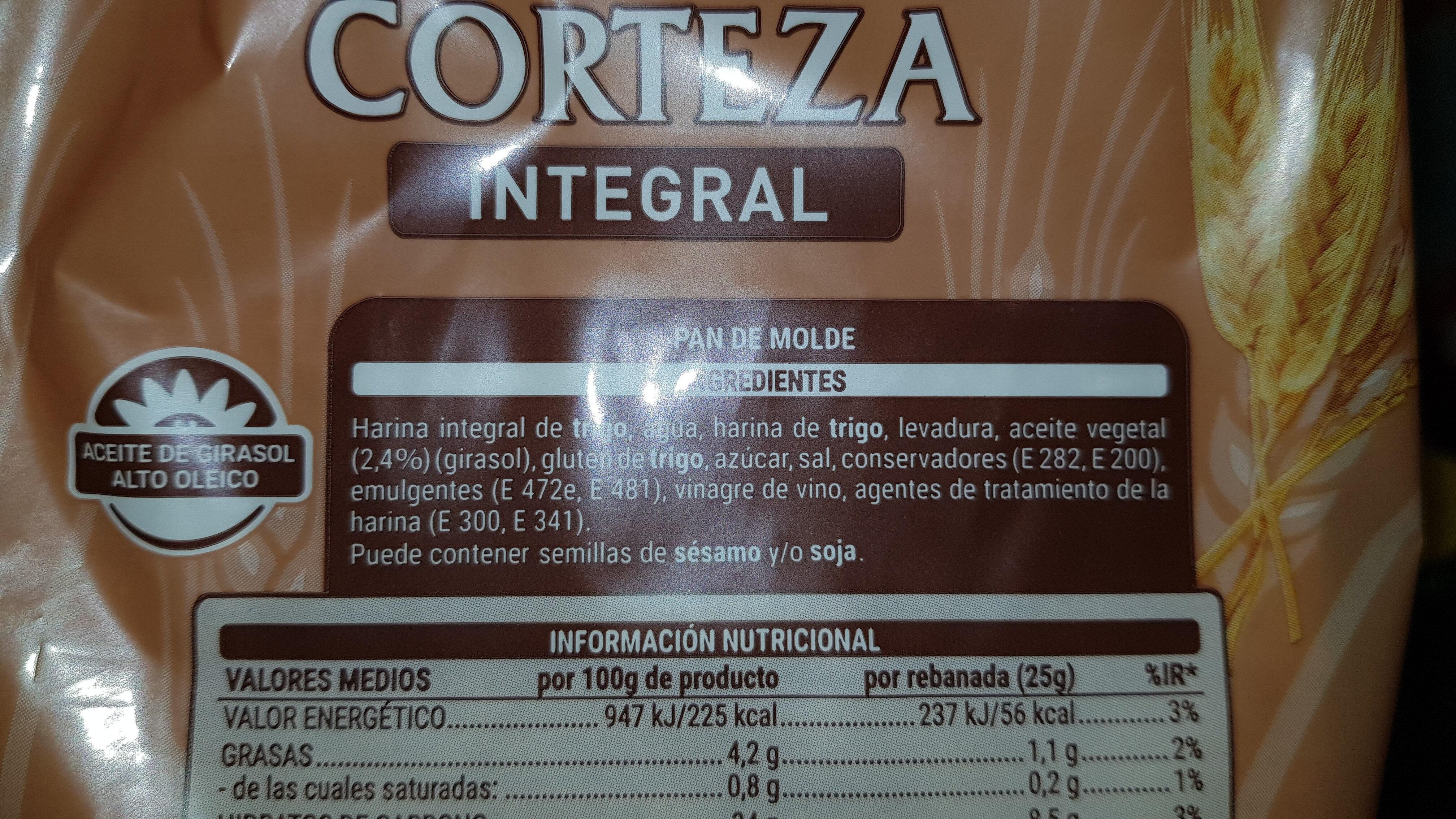 Pan de molde sin corteza integral - Ingredientes - es