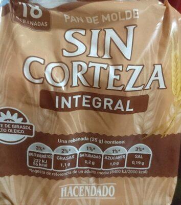 Pan de molde sin corteza integral - Información nutricional - es