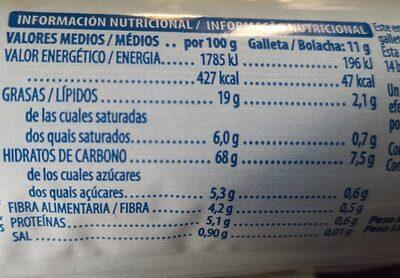 Galleta rellena de crema de chocolate - Nutrition facts - es