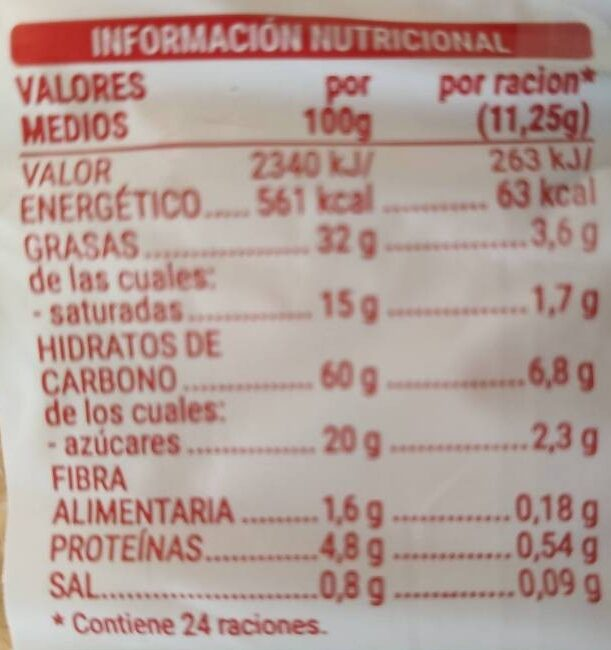 Palmeritas Hacendado - Información nutricional