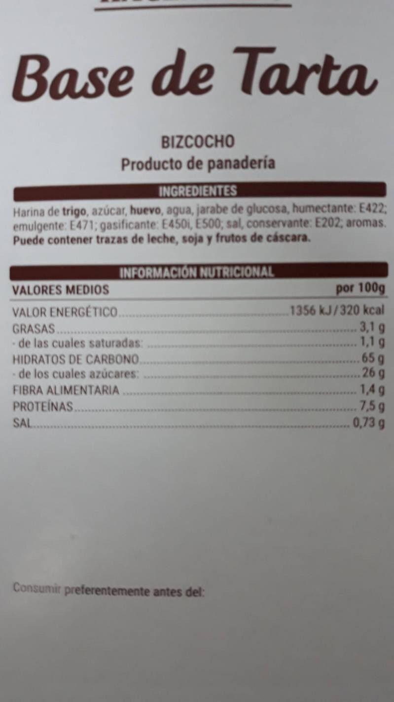Base de tarta - Voedingswaarden - es
