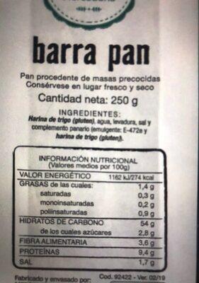 Barra de pan - Información nutricional