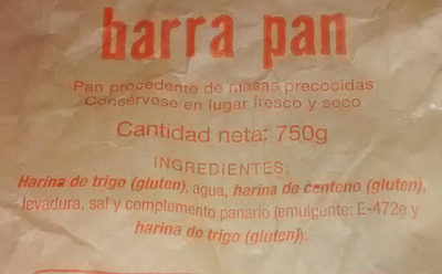 Barra pan - Ingredientes