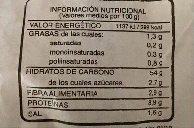 Barra pan - Información nutricional - es
