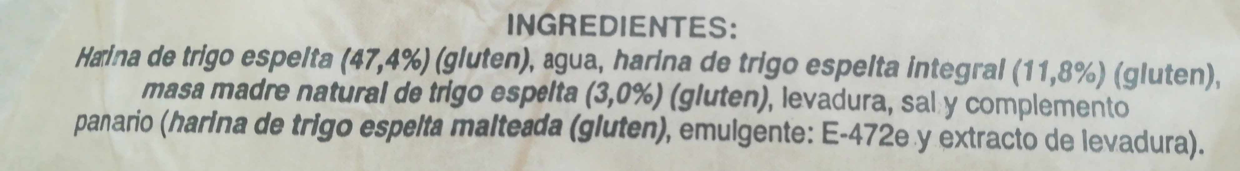Pan de trigo espelta 100% con masa madre - Ingredients