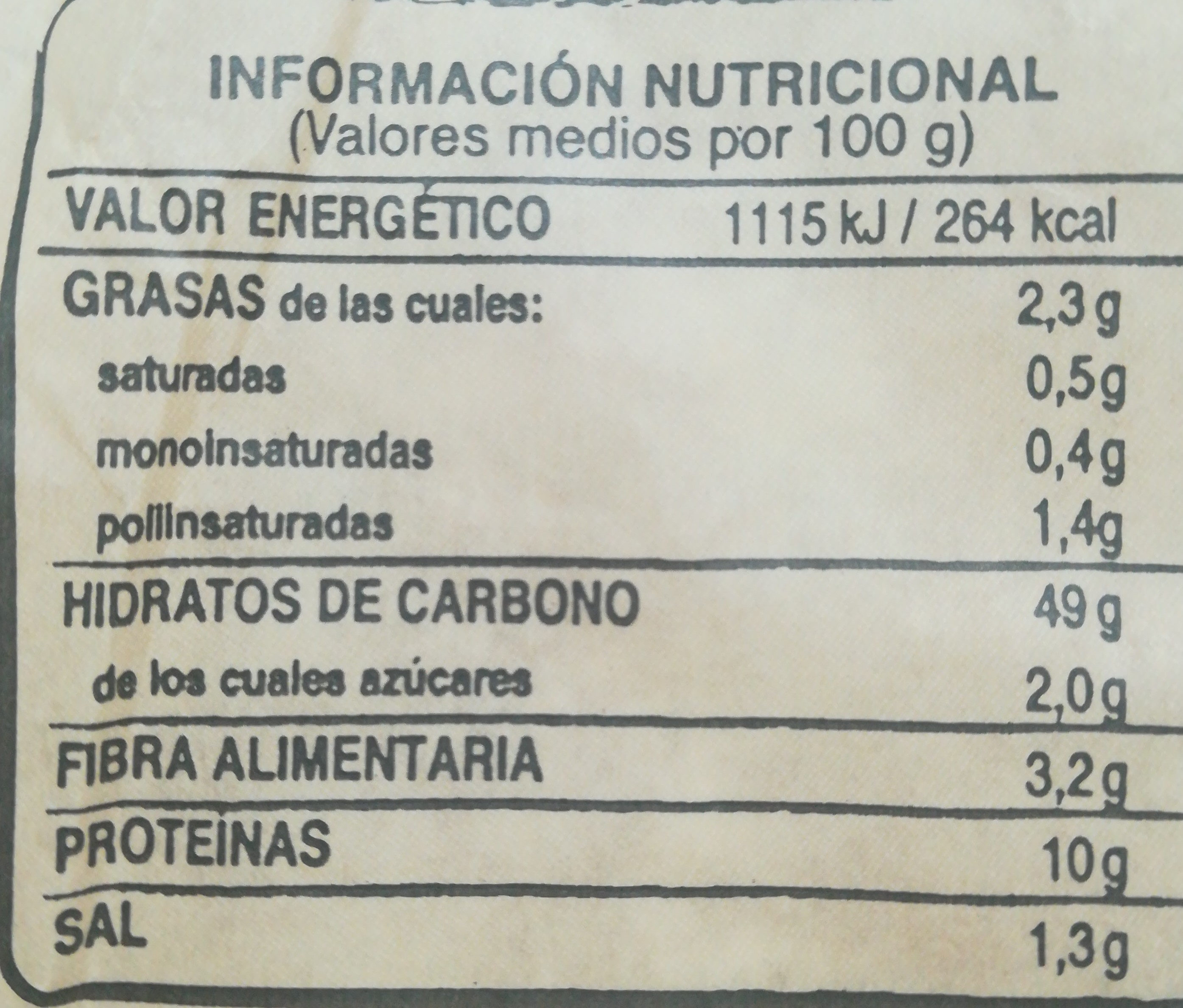 Pan de trigo espelta 100% con masa madre - Nutrition facts