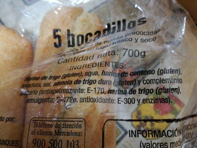 5 bocadillos - Ingredientes