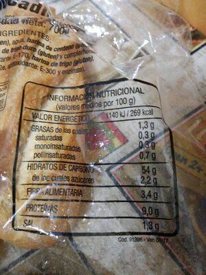 5 bocadillos - Información nutricional