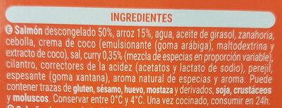 Salmon al curry con arroz - Ingredientes - es