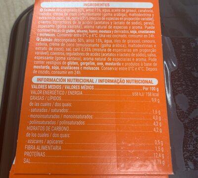 Salmon al curry con arroz - Información nutricional - es