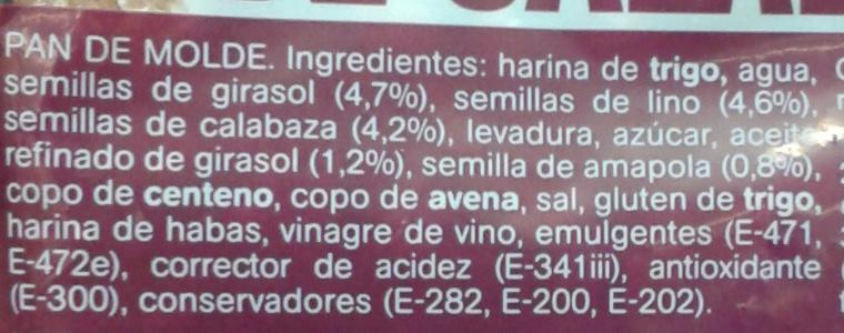 Pan de molde semillas y pipas de calabaza - Ingredients - es