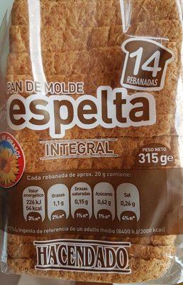 Pan de molde espelta integral - Producto