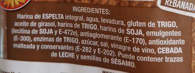 Pan de molde espelta integral - Ingredientes