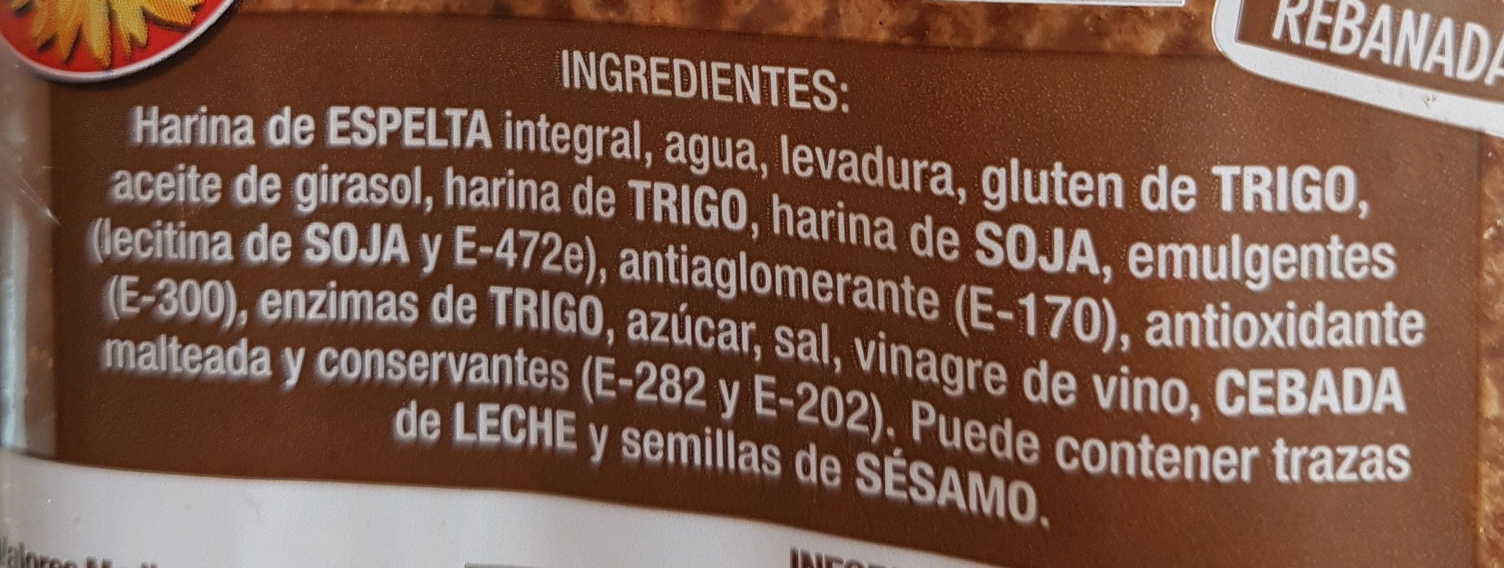 Pan de molde espelta integral - Ingredientes - es